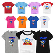 Kids Cartoon Sonic the Hedgehog Round Neck T-shirt for Boys Short Sleeve Clothes