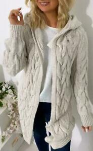 Women Ladies Cable Chunky Knitted Oversized Long Hooded Cardigan Jumper Cape Top