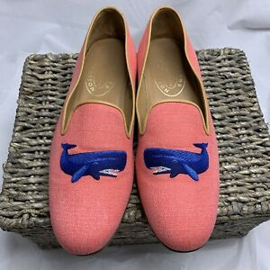 stubbs & wootton RARE Men's Shoe Size 12, Pink Canvas Blue Whale Slippers