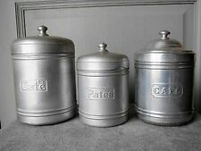 3 Vintage French Aluminum CANISTERS CONTAINERS