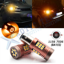 2pcs 1156 P21W 7506 1156A Amber Yellow 30-SMD LED Bulbs for Turn Signal Light