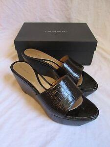Women's Elie Tahari Todd Espresso Brown Croc Patent Leather Wedge Sandals Size 9