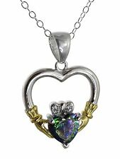 Irish Claddagh Heart Necklace - 925 Sterling Silver Rainbow Mystic Topaz CZ NEW