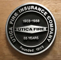 Rare Vintage Utica Fire Insurance Company Medallion Paperweight 1903-1988