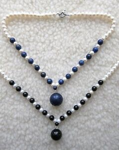 6-7 MM White Cultured Pearl Necklace with Round Pendant - New.