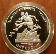 1999 Isle of Man Large Silver Proof  1 Crown Sydney Olympics-Hurdles