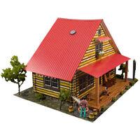 1/64 Slot Car HO Train S Scale Log Cabin Photo Real Kit Model Diorama Scenery