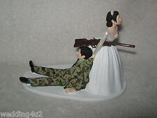 Military Wedding Party  ~Custom Cake Topper Camo Hunter Hunting Both Black Hair