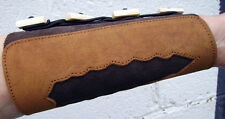 LEATHER BRACER ideal for longbow archers, bone button fastening, brown
