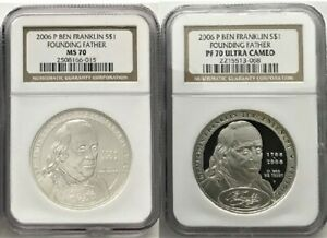 2006 P Ben Franklin Founding Father Silver Dollar Set NGC PF70/MS70