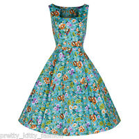 PRETTY KITTY 50s TURQUOISE FLORAL SWING ROCKABILLY PARTY COCKTAIL PROM DRESS