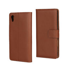 Brown Genuine Leather Business Wallet Flip Case Cover Stand for Sony Xperia X