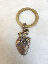 anatomical bronze hand cast heart key chain with brass split ring and clip