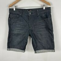 Lucid Mens Shorts 34 Slim Fit Black Denim Pockets