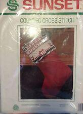 Sunset COUNTRY CHRISTMAS Cross Stitch Kit (#2907) Reindeer/Farm-NEW!
