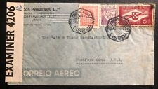 1942 Lisboa Portugal Censored Airmail Cover To Stamford CT USA