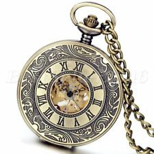 Vintage Bronze Steampunk Skeleton Mechanical Automatic Mens Women Pocket Watch