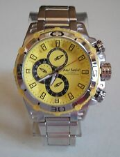 MEN'S SILVER FINISH YELLOW DIAL FASHION DRESSY/CASUAL WEAR INSPIRED WATCH