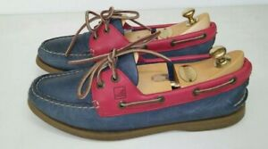 Sperry Top Sider Original 2 Eye Boat Shoes Womens Size 8.5 Blue , Red Leather