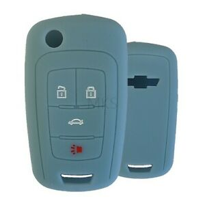 Silicone Key Cover Case For GM Flip Key 4 Button ( Light Blue )