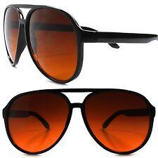 Classic 80s 90s Retro Style Black Frame Amber Blue Blocker Driving Sunglasses