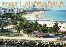 Fort Lauderdale Florida, Beach, Swimming, Atlantic Ocean, Palm Trees -- Postcard