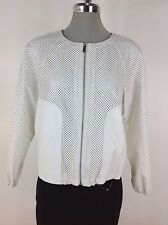 Calvin Klein New wT Birch White Perforated Faux-Leather Bomber Women's Jacket S