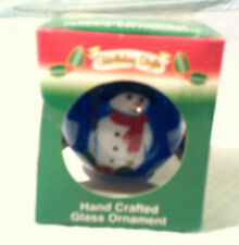 Holiday Style,Hand Crafted Glass Ornament Christmas Snowman Theme