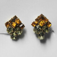 Vintage Estate Jewelry SCREW BACK EARRINGS Amber Gold & Yellow Rhinestones