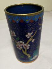 Antique China 19TH Century  Enamel Flowers Cloisonne Brush pot 10cm