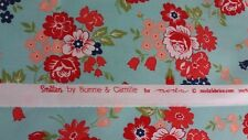 SMITTEN BY BONNIE AND CAMILLE FOR MODA FABRICS. FAT QUARTER. FLORAL ON AQUA