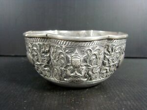 19thC Burmese Myanmar Solid Silver Thabeik Ceremonial Bowl Buddha Chinese signed