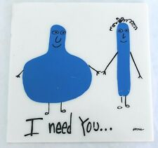 "vintage ""I Need You..."" Atonie Painting Lucite Folk Art"