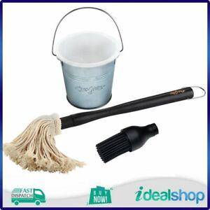 Char-Griller Basting Bucket And Brush Set, Cotton Mop & Silicone Brush Set