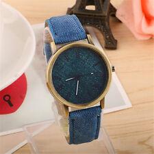 Men Women Denim Leather Analog Bracelet Watch Cowboy Quartz Wrist Watch Jewelry