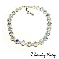 Vintage Aurora Borealis Faceted Crystal Beaded Statement Necklace