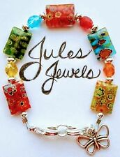 Millefiori & Czech Glass Multicolored Medical Alert ID Bracelet SUMMER!