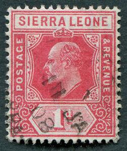 SIERRA LEONE 1907-12 1d carmine SG100 used NG King Edward VII b ##A06