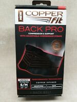 "Copper Fit Back Support Adjustable (Black) Fits Waist Size (28""-39'' S/M) NEW"