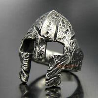 Men's Stainless Steel Greek Spartan Mask Knight Helmet Ring Vintage Silver/Black