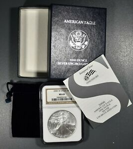 2006-W $1 BURNISHED AMERICAN SILVER EAGLE, NGC CERTIFIED MS 69, IN OMP, SKU-2449