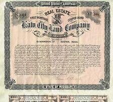 USA KAW CITY LAND COMPANY BOND stock certificate 1890 MISSOURI