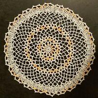 Delicate Original Design Crocheted  Doily Peach Flowers , 9 inch, New
