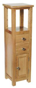 Slim Oak Corner Cupboard| Small Wooden Bathroom Cabinet /Tower | Bedside Table