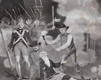 1816 Fecha Antigüedad Estampado Tomando Del Bastile Julio 14 1789 Liberación De