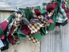 Christmas Winter Mix handmade Burgundy Green Mittens fabric rag Garland 5ft