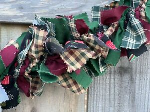 Christmas Winter Mix handmade Burgundy Green Mittens fabric rag Garland 5ft