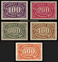 EBS Germany 1922 Numeral in Oval Definitives (I) Michel 219-223 MNH**