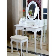 White Dressing Table, Oval Mirror & Stool Set (3 Drawer) Bedroom Makeup Desk