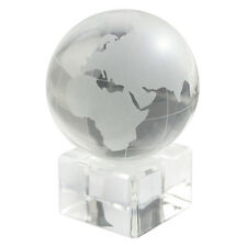 CONTEMPORARY CLEAR & FROSTED GLASS GLOBE OF EARTH PAPERWEIGHT MODERN HOME OFFICE